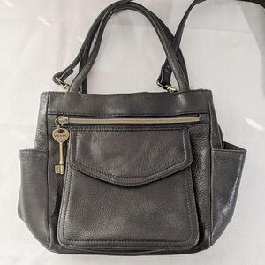 Fossil Black Leather Crossbody Bag 75082